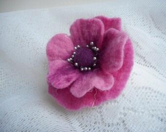 Purple Pink Flower Brooch,Poppy Felt Brooch Flowers,Pink Jewelry,Purple Flower,Accessories,Wool,Wet Felt Flower pins,Hair Clip,Brooch, Dress