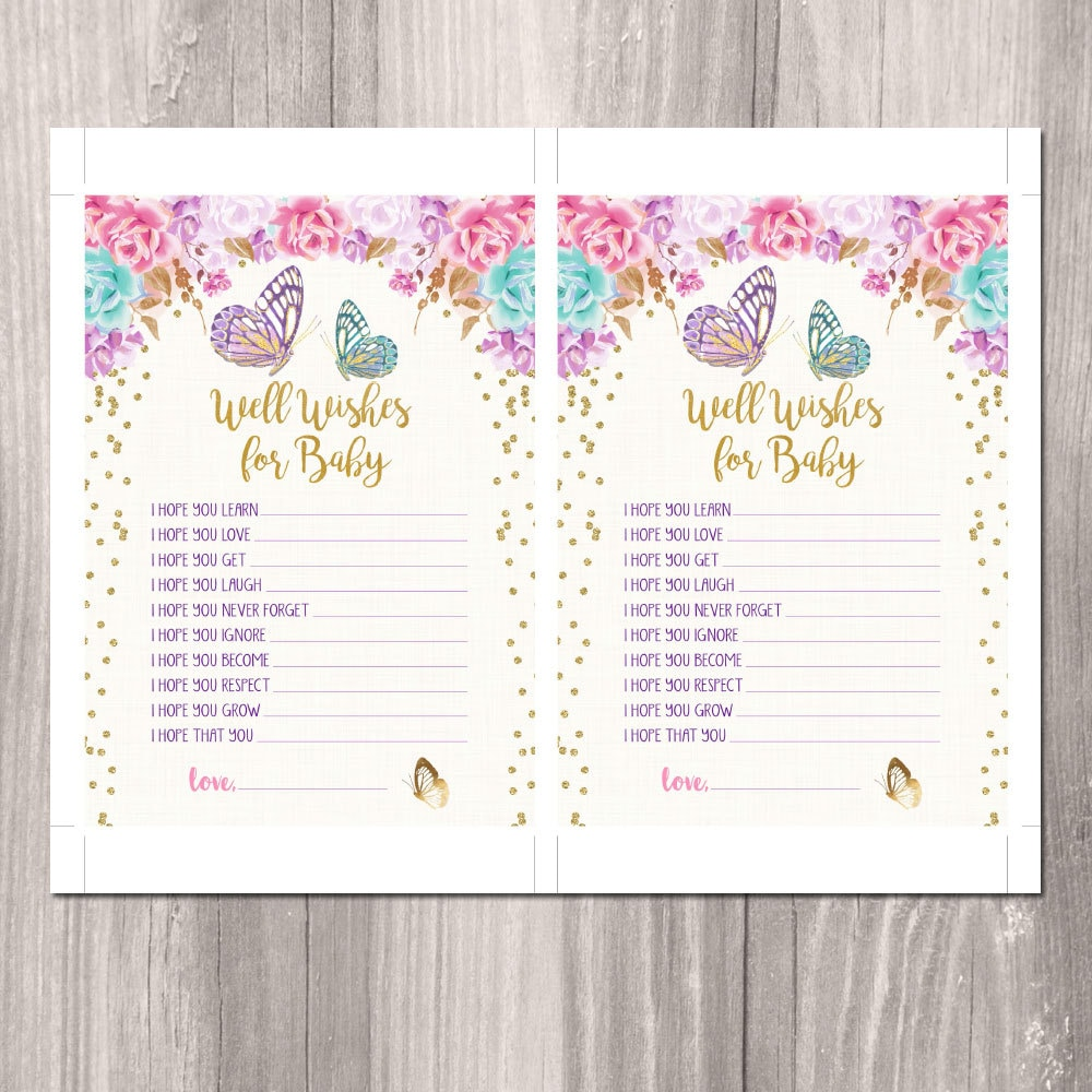 INSTANT DOWNLOAD - Well Wishes for Baby, Butterfly Baby Shower ...