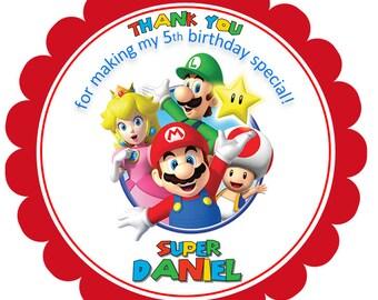 Printable Super Mario Bros Favor Tags, Digital Mario Bros Thank you Tags, Mario Bros Gift Tags, Mario Bros Tags, Super Mario Tags.