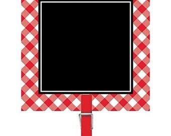8 Pack 3 Inch Red Gingham Cardstock & Plastic Chalkboard Clips - Label The Summer Buffet Dishes Or Use As Markers For Guest Tables!