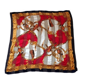 "Vintage Regal Chainlink Horsebit Scarf - 34.5"" x 34.5"""