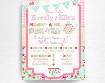 Mommy And Me Birthday Party Printable Invitation YOU Print Tea