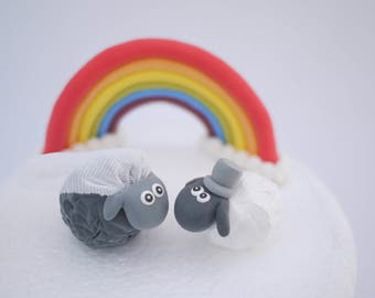 Black and White Sheep Bride and Groom Wedding Cake Topper (With or Without Rainbow)