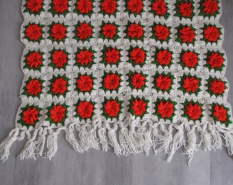 Vintage Flower Poinsetta Crocheted Afghan White Edged Red and Green Lap Blanket Throw