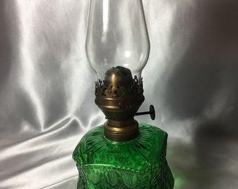 Green Glass Crocodile Tears Oil Lamp