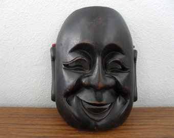 Vintage Wood Hand Carved Laughing Buddha Face Mask Wall Hanging
