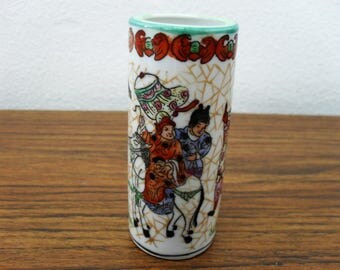 Vintage Hand Painted Chinoserie Chinese Bud Vase, Pen Holder Signed