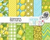 "Summer Digital Paper - ""Lemons"" - hand drawn citrus seamless patterns in yellow blue & green - lemon  scrapbook paper - commercial use CU OK"