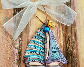 Custom Keepsake Polymer Clay Sail Boat / Ship / Boating / Nautical / Vacation Personalized Ornament