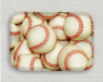 Baseball Bath Mat Microfiber Mat Memory Foam Kitchen Mat Baseball Decor