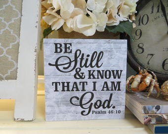 """Wood Religious Sign, """"Be Still and Know That I Am God"""", Psalm 46:10, Inspirational Christian Scripture, Beach Inspired Bible Verse,"""