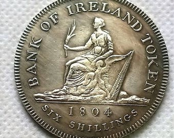 1 1804 Irish Coin of Hibernia and George III , Hand milled Museum Reproduction, Large 40mm