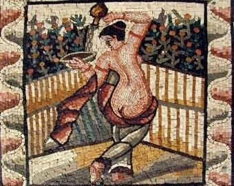 Woman Flowering Plants In Her Garden Mosaic Mural