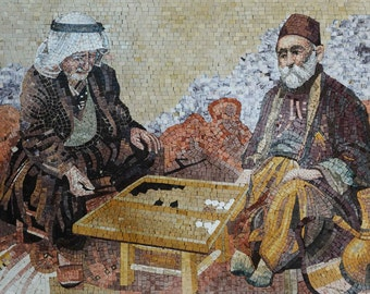 Playing Backgammon Marble Mosaic Mural