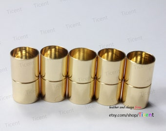 3 sets 11mm Diameter Hole Gold Plated Magnetic Clasp, Cylinder Clasp 22mm Long MT10M-509