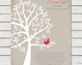 PERSONALIZED BAPTISM GIFT, Baby Girl Baptism Wall Art, Custom Baptism Art Print, Baptism Tree Wall Art, Christening Dedication Gift