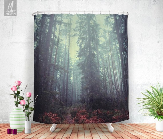 The magic trails shower curtain forest bathroom decor for Forest bathroom ideas
