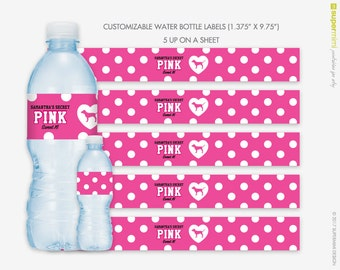 Custom Victorias Secret Themed Pink Polka Dots with Dog Water Bottle Wrapper Labels / Customized DIY Printable