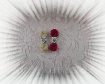 Wool rope vine red and beige