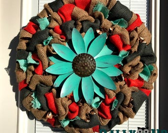 Wreath - Flower Spring Wreath -Coral, Gray and Aqua Wreath - Door Decor -  Spring Decor -  Front Door Wreath  -  Wreaths - Everyday Wreath