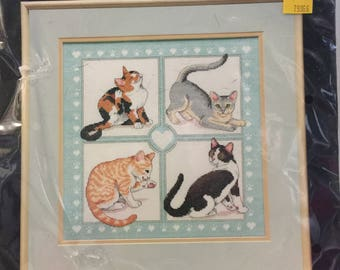 """Counted Cross Stitch Kit by Dimensions - Feline Foursome - Needlework Kit - Cat Picture - Vintage 1991 - Cats playing in window - 12"""" x 12"""""""