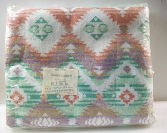 Vintage Southwestern Blanket Sealed, Sundance Blanket Southwest Decor, Made in USA, New Aztec Blanket Southwestern Santa Fe Print Blanket