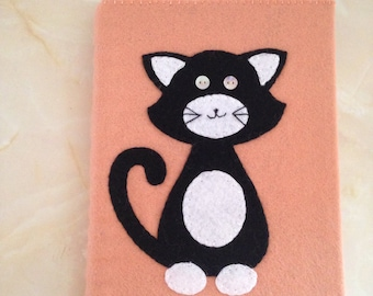 Cat felt covered sketchbook , a5 sketchbook, cat sketchbook, secret santa gift,