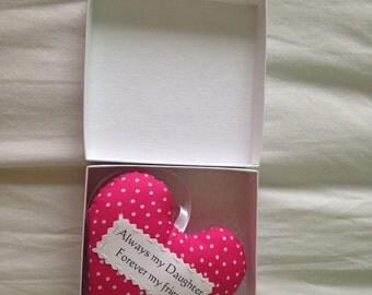 Daughter heart, Daughter gift, padded heart, Gift box option
