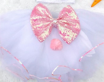 PREORDER Girls Easter white tutu with bunny tail pink sequin bow sewn tutu skirt