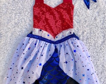 Patriotic 4th of July Meromper mermaid romper tutu