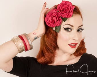 2 x Pink Rose hair flower clip corsage