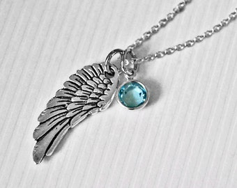 Angel Wing Necklace // Sterling Birthstone // Silver Wing Pendant // Swarovski Birthstone // Sympathy Necklace // Memorial Jewelry