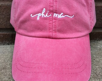 Phi Mu Handwriting Script Baseball Cap - Officially Licensed Phi Mu Baseball Hat - Shoreline Baseball Caps
