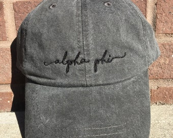 Alpha Phi Handwriting Script Baseball Cap - Officially Licensed Greek Sorority Baseball Hat - A Phi Apparel and Accessories