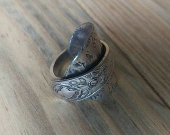 Large size Antique Spoon Ring - Upcycled Jewellery - Size Y (UK)
