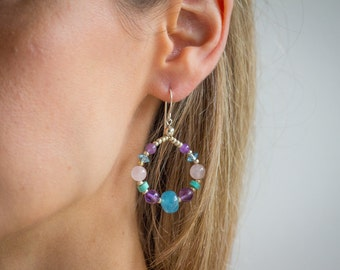 Amethyst turquoise beaded hoop earrings blue apatite jade rose quartz sterling silver handmade boho gemstone semi-precious