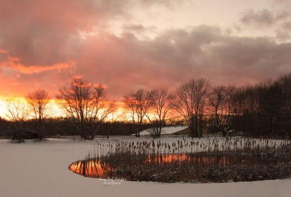 Sunset Reflecting Pond Sutton MA 5x7 8x12 11x14
