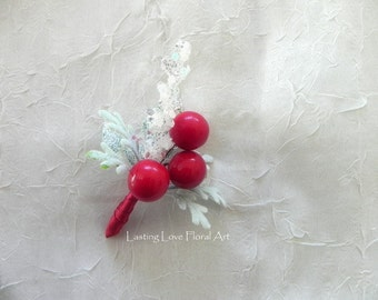 Red Berry Winter Boutonniere, Winter Boutonniere, Winter Wedding Boutonniere, Festive Boutonniere