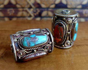 Two Large Older Nepalese Focal Beads