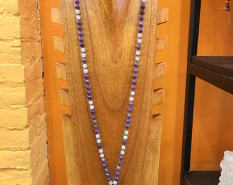 Lepidolite and Lavender Jade Knotted Mala AAA gem quality
