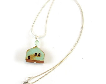 Mint Green Ceramic House Pendant Necklace Sterling Silver