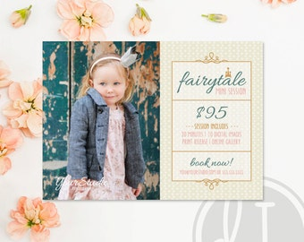 INSTANT DOWNLOAD PHOTOGRAPHY Fairytale Princess Mini Session Template - Marketing Board, Newsletter Template, Little Girls, Psd