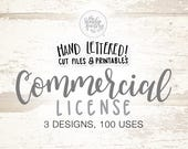 Commercial Use Licensing for 3 Hand-Lettered Designs, SVG Cutting Files - 100 Uses Per Design