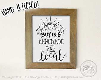 Thank You Printable File,  Buying Handmade and Local DIY Print, Hand Lettered Download, Original Art, Vinyl Stencil, Thanks For Shopping
