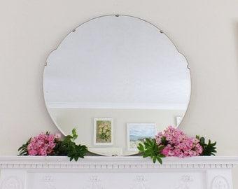 Extra Large Vintage Mirror Art Deco Mirror Frameless mirror Bevel Edge Mirror Feature Wall Mirror  M177