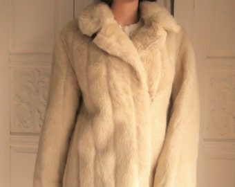 Vintage 50s 60s faux mink Fur Coat Blonde faux mink fur coat Cream faux mink fur jacket Simulated mink fur coat jacket Blonde faux fur coat