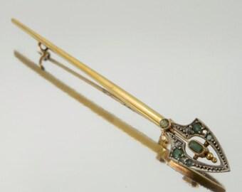 An Emerald And Diamond Edwardian Brooch