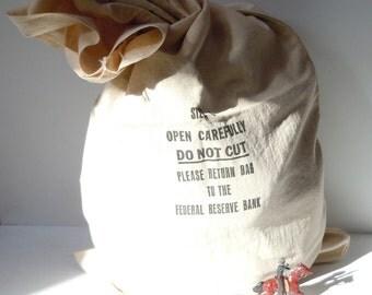Money Sack Vintage Canvas Bag for Currency / Simple Clean / Unused Cloth Bag