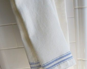 Irish Linen Tea / Hand Towels / Vintage Never-used stock of 3 Towels with Blue Trim / Authentic Irish Linen by Webb Co.