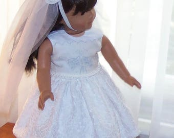First Communion Set for American Girl Doll.  Dress, Veil, Petticoat, Bible, Rosary, Shoes, Tights